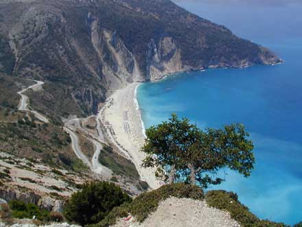 MYRTOS BEACH VIEW FROM ABOVE -