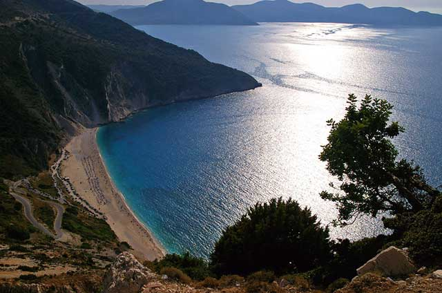 PANORAMA - Panoramic view of Myrtos beach from above